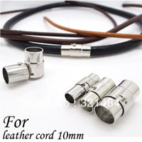 Charms Jewelry Findings Clasps & Hooks Rhodium Plated Leather Jewelry Clasps End Caps For Leather Cord 10mm 100pcs Magnetic Clasps Free Shipping