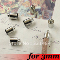 Charms Jewelry Findings China (Mainland) Free ship! For 3mm Leather Cord End Caps Fasteners Clasps 500PCS Platinum Dull Silver Plated Tone Metal Jewelry Crimp Beads