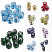 Wholesale 10pcs Charms European Loose Beads Big Hole Crystal For Chain Bracelet Necklace Making Style Choose PDY