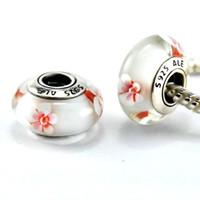 Glass Flowers White 5pcs 925 ALE Sterling Silver Screw Cherry Blossom Murano Glass Bead Fits European Pandora Jewelry Charm Bracelets Necklaces & Pendants DH004