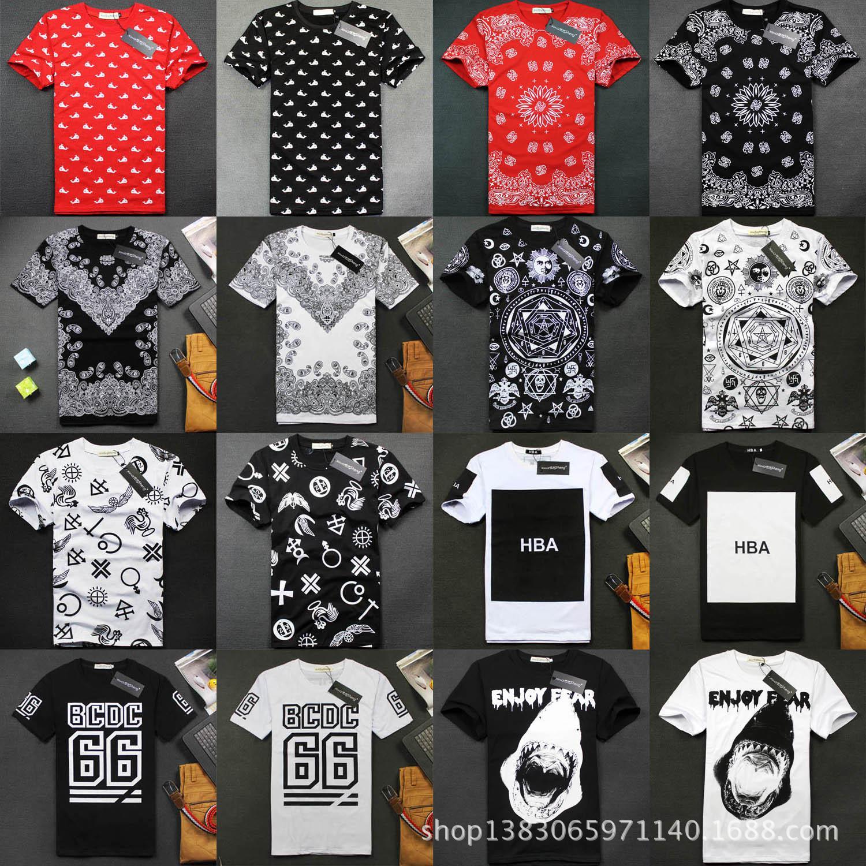 Shirt design new 2014 - 2014 Summer New Right Zhilong Exo West Coast National Wind Cashew Flower Hba Whale Cotton Short