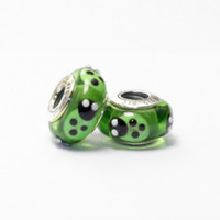 Glass Animals green 5pcs 925 ALE Sterling Silver Screw Green Ladybugs Murano Glass Bead Fits European Pandora Jewelry Charm Bracelets Necklaces & Pendants