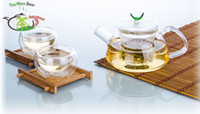 Wholesale 3in1 China Kung fu Tea Set fl oz ml Heat Resisting Pyrex Glass Small Teapot Coffee Pot fl oz ml Double Wall Tea Cup Mugs