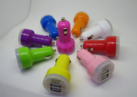 Car Chargers Universal 10colors 300pcs car charger for iphone 5S 5C galaxy note 3 tablet pc Dual Port USB Car Charger for iphone 4 5 4S ipod ipad 4 MP3 double usb
