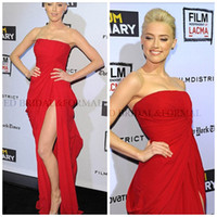 Strapless amber heard photos - 2014 Amber Heard Dress Real Sample Picture Slit Red split side carpet Prom Formal Evening The Rum Diary LA Premiere