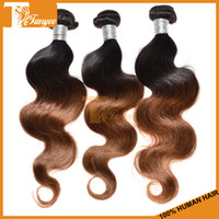 Wholesale Cheap Hair Weaves Peruvian Virgin Hair Body Wave Queen Hair Products Remy Human Hair Extensions Weft Colored ombre tow tone b