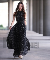 Wholesale Retail Free Fashion Women s Polka Dots Maxi Long Casual Summer Beach Party Chiffon Dress Big Size Women Sundress Colors LQ9226