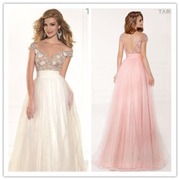 Wholesale 2014 New Sexy Sheet Tulle Neck Off the Shoulder Prom Dresses Backless Empire Waist Princess A line Formal Evening Gown Tarik Ediz