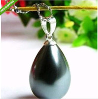 Wholesale South mm Black Sea Shell Pearl Pendant Necklace ree shipping