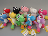 Wholesale 10pcs set Soft Plush Super Mario Bros Yoshi Plush Anime cm Keychain yoshi keychain phone chain plush colors