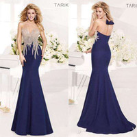 Reference Images Scoop Satin 2014 New Tarik Ediz Evening Dresses Sheer Scoop and Back Sequins Beads Bow Mermaid Sweep Train Satin Hot Custom Prom Pageant Party Gowns