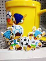 Wholesale Hot Sale Brazil World Cup Fuleco Keychain PVC mascot World Cup emblem Keychain Double sided pattern