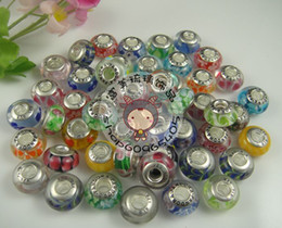 Wholesale DIY jewelry ALE stamped thread core murano glass beads mix lampwork glass beads big hole european charms mixed european beads in bulk