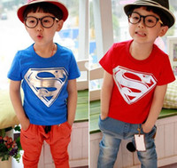 Unisex Summer Children Wholesale price Children Clothing Tees Cool Superman Baby Boys T Shirts Summer Children Outwear Baby T-shirt free shipping!