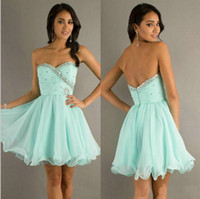 Reference Images Sweetheart Chiffon YAA Modest Sweetheart Beaded Short Dresses Party Chiffon Ball Gown Backless Prom Dresses Aqua Blue Special Occasion Dresses Custom Made