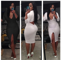 Wholesale 2014 New Arrival Sexy Bodysuit Club Wear Stage Wear Celebrity Bandage Bodycon Dresses Celebrity Spandex Open Dress Black and White