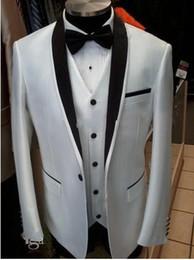 Wholesale Side Vent Slim Fit One Button Groom White Tuxedos Best man Shawl Lapel Groomsman Men Wedding Suits Bridegroom Jacket Pants Tie Vest J322