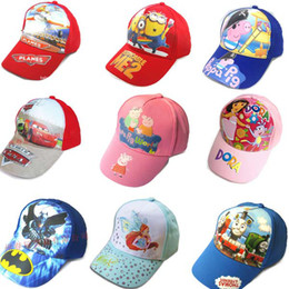 Wholesale Hot sell Kids hats cartoon hats baseball caps style kids cap peaked cap peppa pig amp Despicable Me DHL