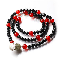 Beaded, Strands South American Women's Habitat bliss natural black tourmaline bracelet 925 sterling silver multi-turn every red agate beads bracelets silver lock decorated female