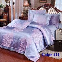 Wholesale Romantic Purple Wedding Home Textiles Comprehensive jacquard satin Bed Linen sets m m bed Fedex Free Color