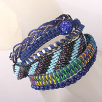 Wholesale Vintage Multi layer Rope Braided Bracelet Party Supplies Disco Ball Beaded Waistband LW312814