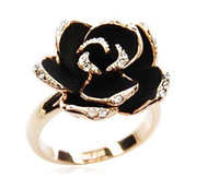 With Side Stones Asian & East Indian Women's Black Diamond Crystal Ring Full of Roses Flower Ring Lady Fashion Jewelry Gift