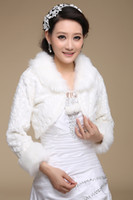 Wholesale DN Unique Long Sleeves Bridal Tippet Wraps White Fur Neck And Sleeves Real Samples Short Bride Jacket In Stock