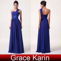 Model Pictures dress blue grace - Grace Karin Classical One Shoulder Bridesmaid Dresses Empire Ruched Blue Chiffon Party Formal Gowns CL6022