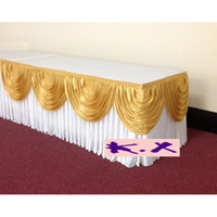 Wholesale 24ft White and Gold Wedding Table Skirt With Velcro For Party