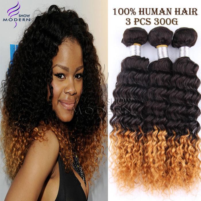 Ombre Hair Extensions brésilienne Kinky Curly Cheveux Vierge 3 Pcs Lot 100G Bundle Cheveux bouclés Weave Ombre brésilienne cheveux 1B  27  mixte,
