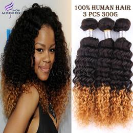 27 bouclés ombre en Ligne-Ombre Hair Extensions brésilienne Kinky Curly Cheveux Vierge 3 Pcs Lot 100G Bundle Cheveux bouclés Weave Ombre brésilienne cheveux 1B # 27 # mixte