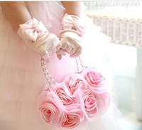 Cheap 2014 girl Purse children girl party pearl rose handbag 3colors pink white lace rose wedding dress princess bag birthday gift kids makeup bag
