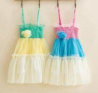 Summer beach singlets - Fedex DHL Summer girls rainbow striped tutu dresses girls beach dresses singlet baby big flower slip dress girls suspender skirt T Melee