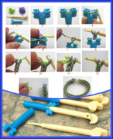 Clasps & Hooks   200Pcs lot High Quality Blue Mini Loom + Beige Hook For Rainbow Loom Rubber Bands Bracelets DIY