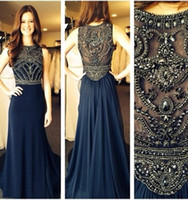 Reference Images High Neck Chiffon robe de soiree evening dresses 2014 New Sleeveless Scoop Neck Dark Blue Chiffon Crystals Long Prom Dresses Formal Evening Gowns BO5235