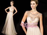 Wholesale 2014 Champange Chiffon Evening Gowns Sheer Crew Cap Sleeves with Appliques Beads Illusion Back Floor Length Formal Dresses tbe11426