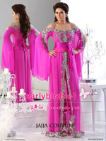 Reference Images hot robe - New Arrival Spaghetti Strap Hot Pink robe de soiree Arabic Evening Gowns With Long Sleeves Lace Applique Fuchsia Prom Dresses