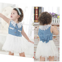 Wholesale Details about Baby Girls Clothes Kids Toddlers Denim Tulle Bow Princess Tutu Dress M Y