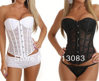 Bras Cotton Normal bra Drop Shipping 2014 Hot Selling Women Sexy Black Overbust Corset Top + G-string Strapless Lace Up Bustiers Two Pieces