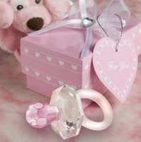 Wholesale Newest Pink Crystal Clear Love Pacifier Baby Shower Wedding Birthday Party Favors Christmas Children Gift ws024p