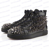 Men amazing sneakers - Amazing Design Sneakers New Stylish Brand Men s High Top Shoes Lace Up Genuine Leather Spike Studded Rivets
