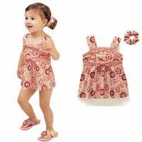Girl Summer Sleeveless Summer cool baby girls clothing set 3-piece set: floral dress+underwear+hair band 2014 new arrival