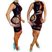 Wholesale 2014 New Fashion Women Dress Lady Bodycon Dress Sleeveless Mini Dresses Bandage Skirt club Wear Evening Sexy Party Sheath Bandage Dress YQ1