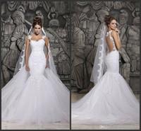 white sheer back mermaid wedding dresses 2014 Illusion Backl...