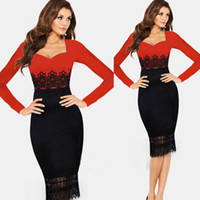 Wholesale New Red Black Casual Dress Women Tunic Bodycon OL Midi Lace Patchwork Ladies Dress Elegant Vintage Long Sleeve Winter Dress plus size