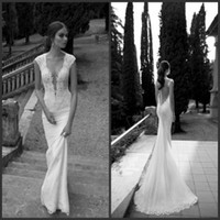 Trumpet/Mermaid Reference Images V-Neck 2014 Top Selling Berta Sheer Illusion Cap Sleeve Low Cut V Neck Beaded Appliques Sweep Train Beach Garden Lace Mermaid Wedding Dresses