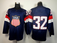 Ice Hockey Men Full 2014 Olympic USA Jersey DEEP BULE #32 QUICK Hockey Wears Hockey Jerseys