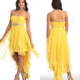 Wholesale 2014 Sexy A line Sweetheart Ruched Beads Hi Lo Zipper Yellow Chiffon Long Floor Length Blush Peacock Prom Dress Evening Formal Party Dress