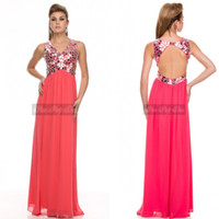 Model Pictures V-Neck Chiffon 2014 Sexy A line V Neck Beads Keyhole Back Chiffon Long Floor Length Blush Peacock Prom Dress Evening Formal Party Dress
