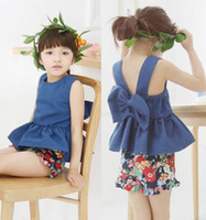 Wholesale 2015 Rattan Chair Iron Table Table Children s Clothing Factory Outlets Original Single Girls Strap Dress Bow Flower Suit Pants
